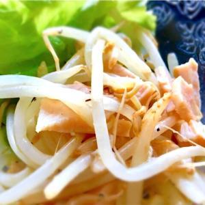 サラダチキン(ハーブ)とモヤシとレモンドレッシング