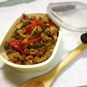 簡単楽チン☆豚バラとパプリカでプルコギ風炒め弁当