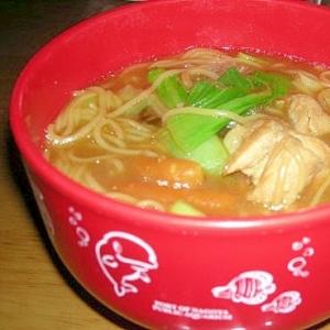 青梗菜入り味噌汁素麺