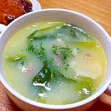 チンゲン菜とベーコンの簡単中華クリームスープ
