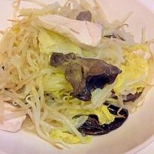 もやしと白菜ときくらげの中華風炒め物