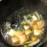 大根菜と大根の皮の味噌汁。