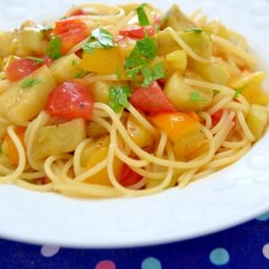 *2色のトマトと茄子のスパゲティー*