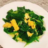 つるむらさきと卵の炒め物