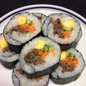 コストコのプルコギビーフで*巻き寿司