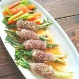 水菜のレンチン肉巻き