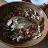 オーブン皿で簡単に!鯛のアクアパッツァ♪