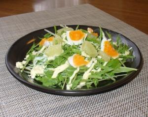 土佐文旦と卵の水菜サラダ♪マヨネーズ×たまご