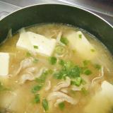 にんにくたっぷり★ピーラー大根と豚肉と豆腐の味噌鍋