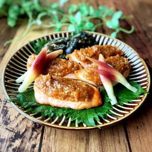 鮭のごま味噌焼き。