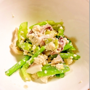 簡単和食 イカと小松菜の白和え