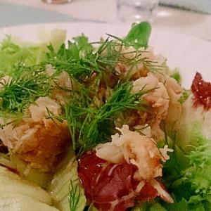 カニとカニ味噌のポン酢サラダ