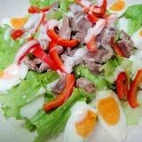 砂肝とゆで卵パプリカのサラダ