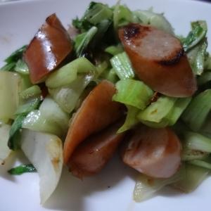 青梗菜とウインナーの中華炒め