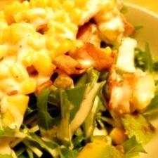 モリモリ食べれるカリカリベーコンと水菜のサラダ