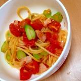 一歳3ヶ月 アスパラとベーコンのトマトスパゲティ♡