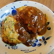 簡単にルクエで鯖のハンバーグ カレー煮込み