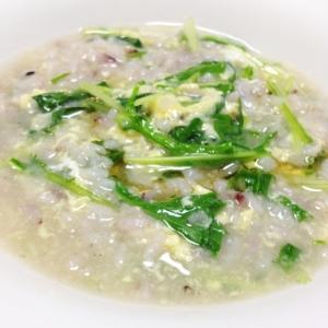 簡単!!水菜と卵の中華雑炊
