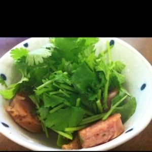 粗挽きソーセージとパクチーのサラダ
