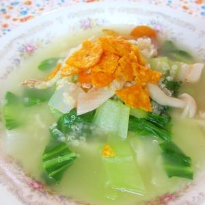 青梗菜とキヌアのドリトススープ