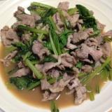 小松菜と豚肉のバタポン炒め