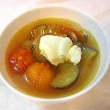 ナスとトマトのコンソメスープ