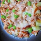 プライパンで簡単✨15分おかず✨鮭缶のピザ風✨