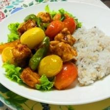 夏野菜と鶏のアジアンライス