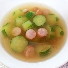 キュウリとウインナーの中華スープ