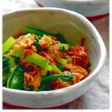 小松菜とアミエビの卵炒め