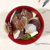 春菊、塩とうふ、稚貝のお味噌汁