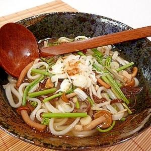 水煮を使えば簡単!山菜うどん(蕎麦)