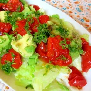 グリルトマトとアボカドのレタスサラダ
