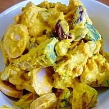 南瓜・蒸し豆・魚肉ソーセージの黒糖マヨ和え*
