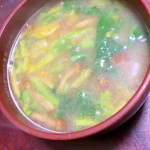 ナメコとかき菜の味噌汁。