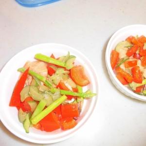 トマトアスパラ海老胡瓜のマヨネーズホットサラダ